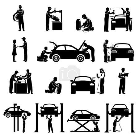 Illustration pour Icônes de service automatique noir serti de silhouettes de mécanicien et de voitures illustration vectorielle isolée - image libre de droit