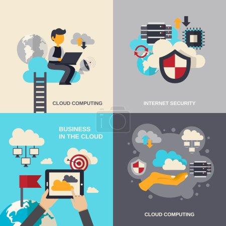 Illustration pour Concept de conception Cloud Computing avec sécurité Internet et illustrations vectorielles isolées des icônes plates des entreprises - image libre de droit