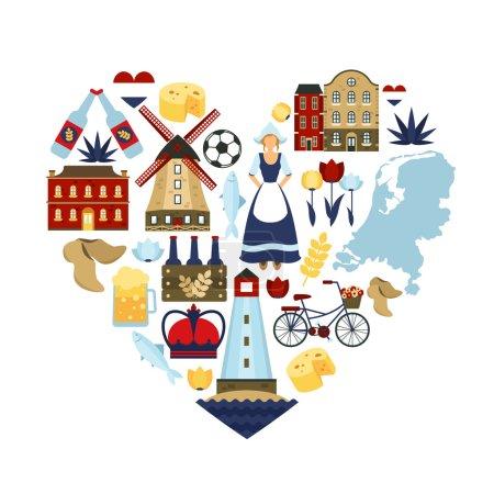 Illustration pour Pays-Bas symboles de voyage et points de repère hollandais en forme de coeur illustration vectorielle plate - image libre de droit