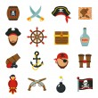 Pirate accessories symbols flat icons collection w...