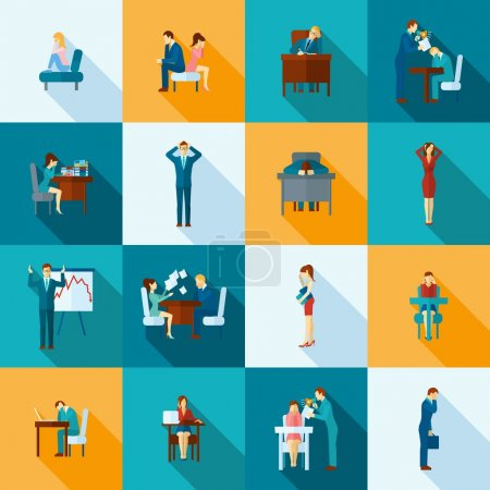 Illustration for Depression frustration and stress at work icons flat set  isolated vector illustration - Royalty Free Image