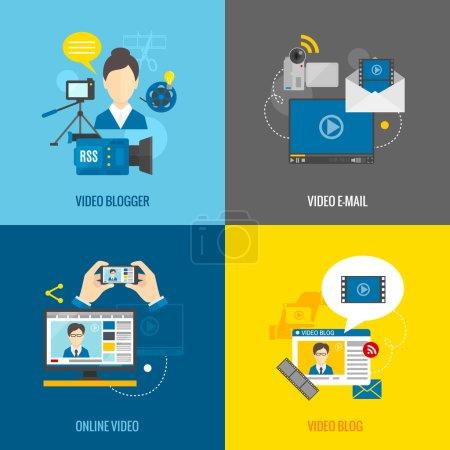 Illustration pour Concept de conception de blog vidéo en ligne avec des icônes plates médias blogueur isolé vecteur isolé illustration - image libre de droit