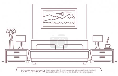 Illustration for Home and hotel bedroom interior with comfortable furniture outline vector illustration - Royalty Free Image