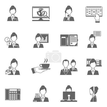 Illustration pour Assistant personnel icônes noires serties de symboles de travail secrétaire illustration vectorielle isolée - image libre de droit