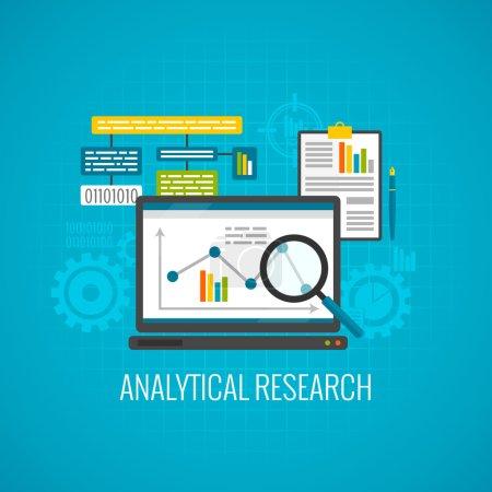 Illustration pour Données et concept de recherche analytique avec ordinateur portable et loupe icône plat vecteur illustration - image libre de droit