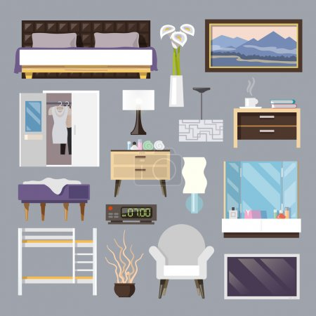 Illustration for Bedroom furniture flat icons set with bed lamp armchair isolated vector illustration - Royalty Free Image