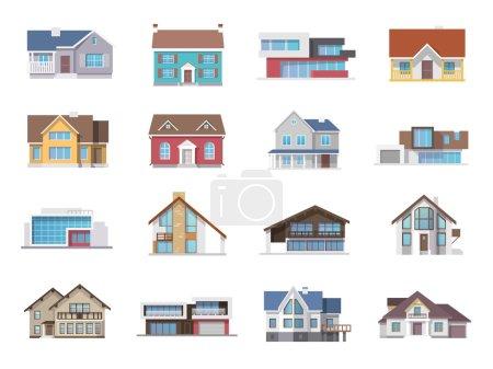 Illustration pour Town house cottage et assorties immobilier bâtiment icônes plats isolés vector illustration - image libre de droit