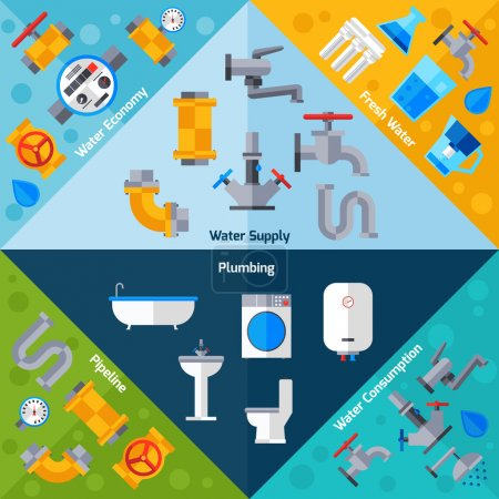 Illustration for Water supply corners set with plumbing pipeline and bathroom accessories isolated vector illustration - Royalty Free Image