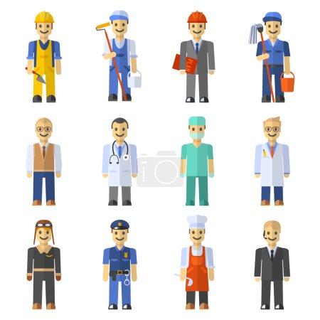 Illustration pour Profession les gens mis avec ingénieur travailleur pilote enseignant isolé vecteur illustration - image libre de droit