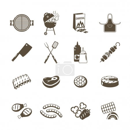 Illustration for Barbecue grill and outdoor summer picnic utensil icons black set isolated vector illustration - Royalty Free Image