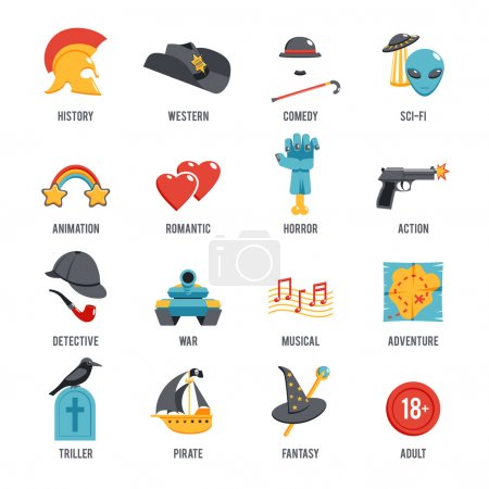 Illustration for Film genres icon set with drama adventure detective pirate isolated vector illustration - Royalty Free Image
