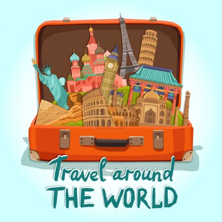 Illustration for Open tourist suitcase with world heritage international landmarks set vector illustration - Royalty Free Image
