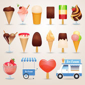 Ice cream various kinds chocolate caramel and fruit cartoon icons set shadow isolated vector illustration