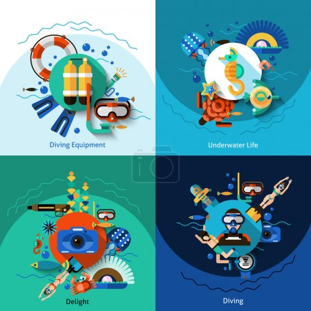 Illustration for Diving design concept set with underwater life flat icons isolated vector illustration - Royalty Free Image