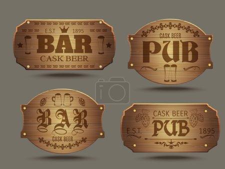Illustration pour Pub panneaux en bois vieux jeu pour artisanat coulé bière bière bière dégustation affiche abstraite vecteur isolé illustration - image libre de droit
