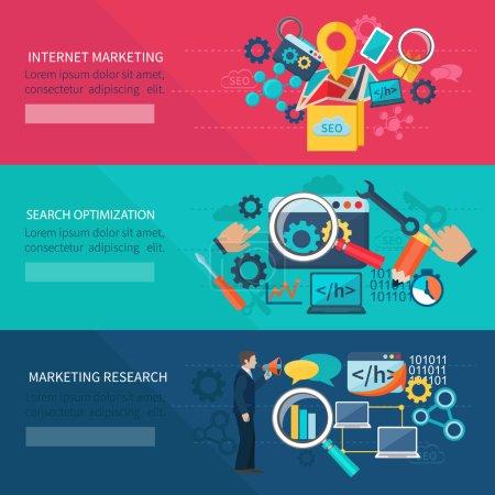 Illustration pour Bannière de marketing de Seo avec des éléments d'optimisation de recherche internet illustration de vecteur d'isolement - image libre de droit