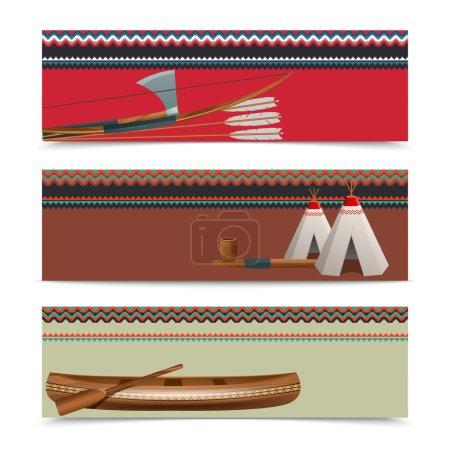 American indian ethnic banners set