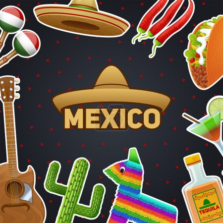 Illustration for Mexican symbols and sombrero chili taco tequila poster vector illustration - Royalty Free Image