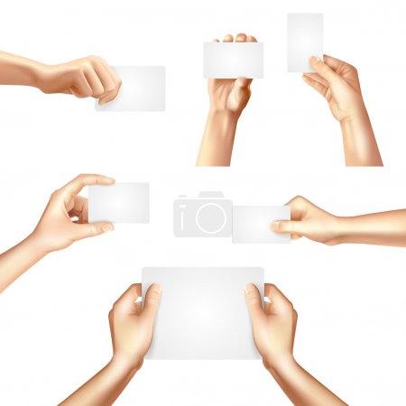 Hands holding blank cards poster