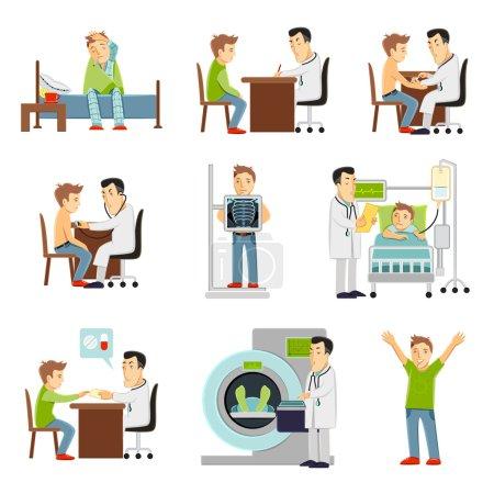 Illustration pour Médecin consultant et patient à l'hôpital mis à plat icônes décoratives illustration vectorielle isolée - image libre de droit
