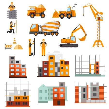 Illustration pour Constructeurs de machines de construction et processus de construction de maisons icônes décoratives ensemble plat illustration vectorielle isolée - image libre de droit