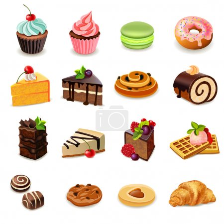 Cakes and sweets decorative icons set with donut c...