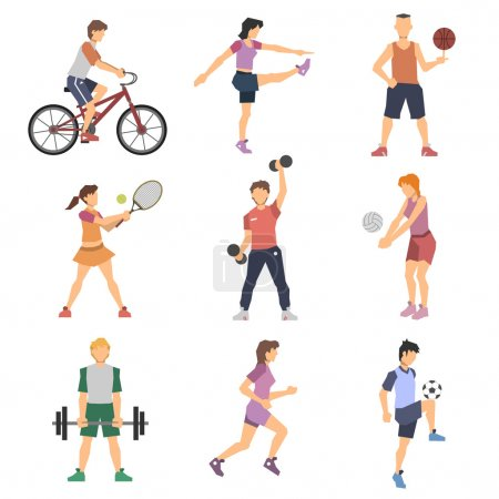 Illustration for Sport people flat icons set with men and women cycling playing football and tennis isolated vector illustration - Royalty Free Image