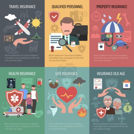 Illustration for Insurance mini poster set with travel property old people health protection isolated vector illustration - Royalty Free Image