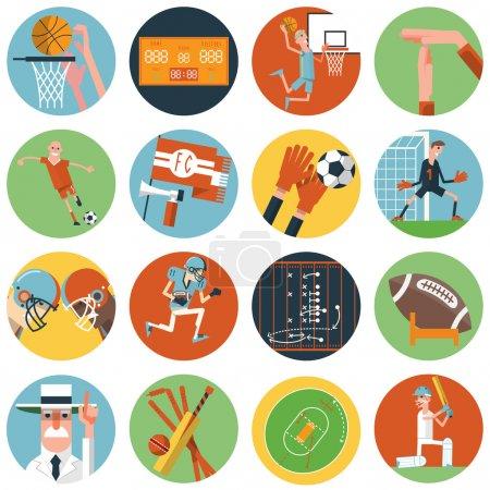 Team sport icons set flat