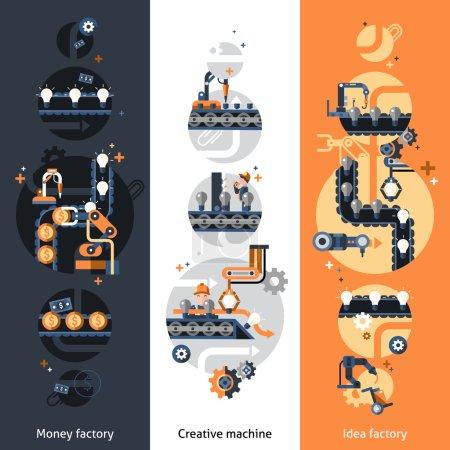 Illustration pour Bannières verticales de convoyeur d'affaires réglées avec l'illustration vectorielle isolée d'éléments plats d'usine d'idée d'argent - image libre de droit