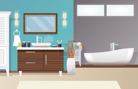 Illustration pour Intérieur de salle de bain moderne avec mobilier et accessoires d'hygiène illustration vectorielle plate - image libre de droit