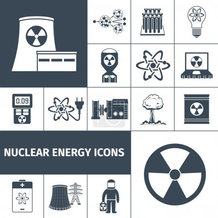 Illustration for Nuclear energy plant products black icons set with mushroom cloud and radioactivity sign abstract isolated vector illustration - Royalty Free Image