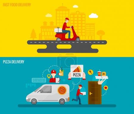 Illustration pour Restauration rapide et livraison de pizza par messagerie aux bannières horizontales porte la valeur illustration vectorielle isolé plat - image libre de droit