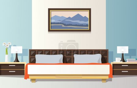 Illustration for Bedroom interior with flat bed and picture frame vector illustration - Royalty Free Image