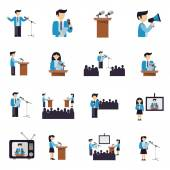 Public speaking businessmen and politicians icons flat set isolated vector illustration