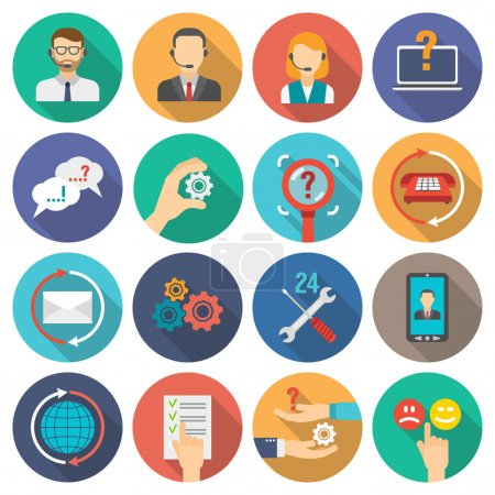 Illustration for Technical support and customer assistance icons flat set isolated vector illustration - Royalty Free Image