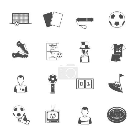 Soccer icons set black