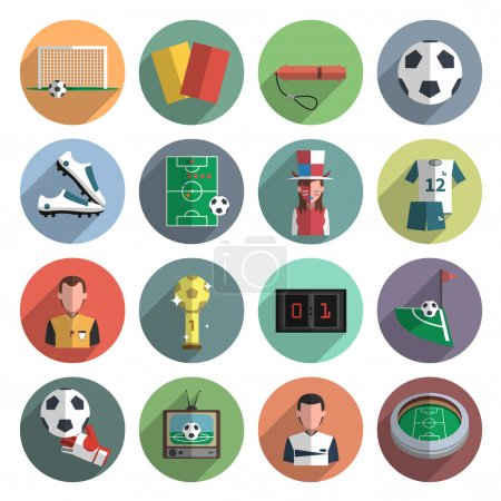 Soccer icons set flat