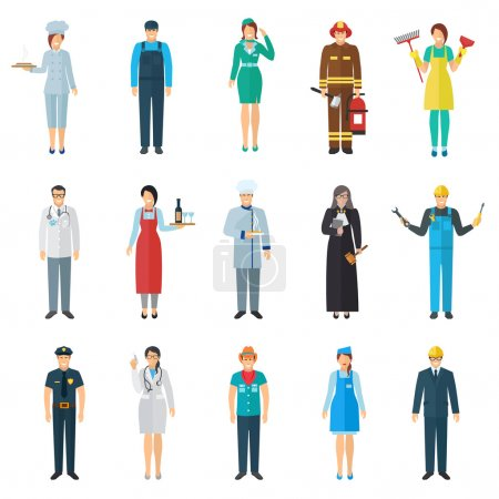 Illustration for Profession and job avatar with standing people icons set flat isolated vector illustration - Royalty Free Image