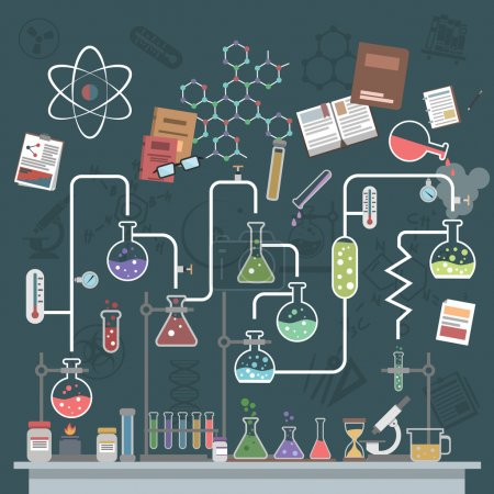 Illustration for Science lab concept with flat flasks and physics symbols vector illustration - Royalty Free Image
