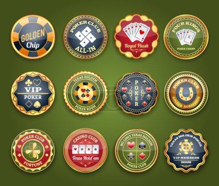 Poker glossy labels set