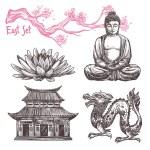 Asian sketch set with lotus buddha dragon sakura b...