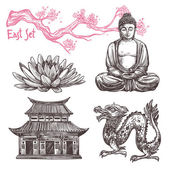 Asian sketch set with lotus buddha dragon sakura branch isolated vector illustration