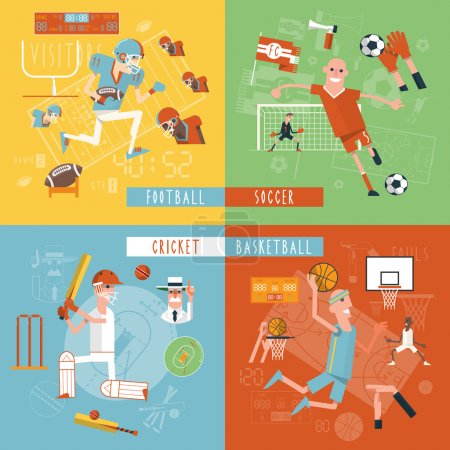 Team sport flat icons square banner