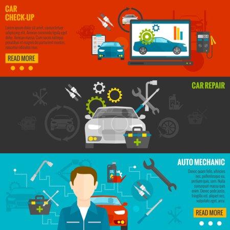Illustration pour Ensemble de bannières horizontales mécanicien automatique avec vérification de voiture et éléments de réparation illustration vectorielle isolée - image libre de droit