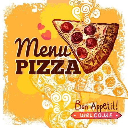 Illustration pour Modèle de couverture de menu restaurant Fast Food avec illustration vectorielle de tranche de pizza dessinée à la main - image libre de droit