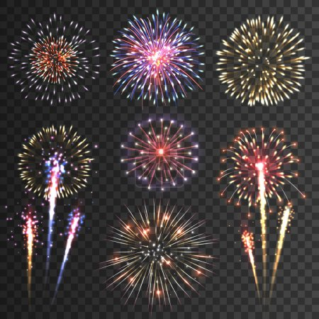 Illustration for Festive patterned firework  bursting  in various shapes sparkling pictograms set  against black background abstract vector isolated illustration - Royalty Free Image