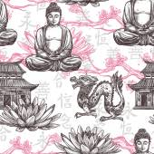 Asian seamless pattern with sketch pagoda building lotus flower dragon vector illustration