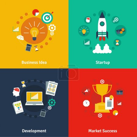 Business concept 4 flat icons square