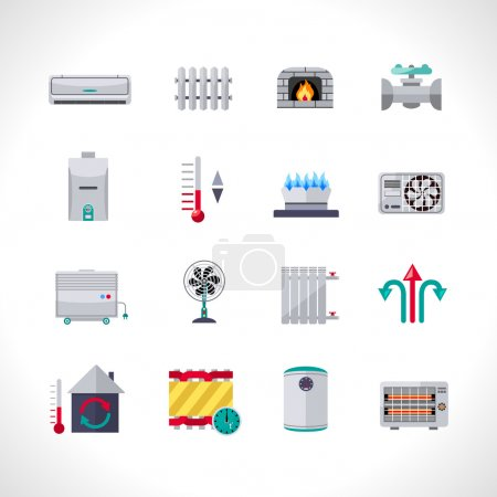 Illustration for Heating icons set with household electric and air conditioning system symbols isolated vector illustration - Royalty Free Image